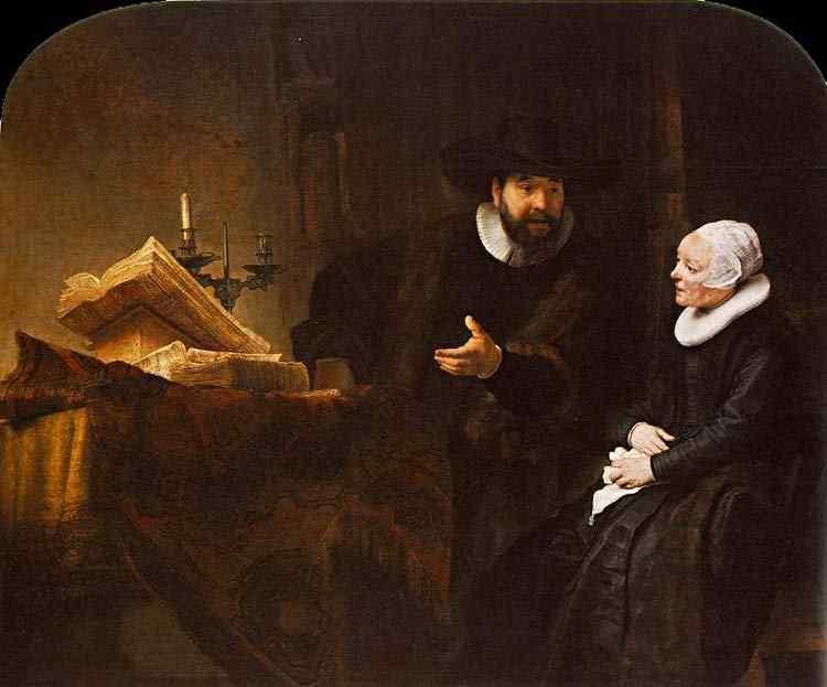 Harmensz van Rijn Rembrandt - Cornelis Anslo com sua mulher