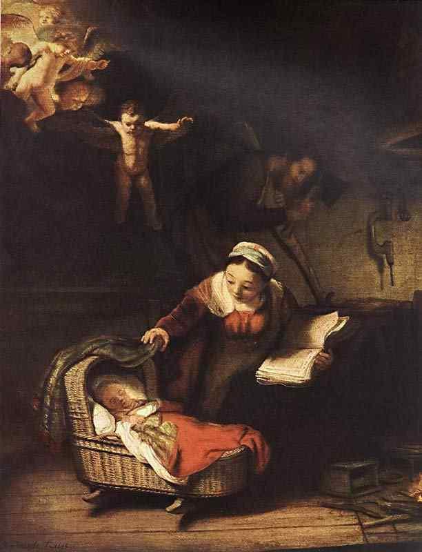 Harmensz van Rijn Rembrandt - A Sagrada Família com anjos