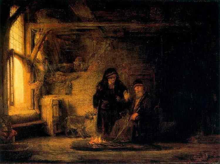 Harmensz van Rijn Rembrandt - Esposa de Tobias com a cabra