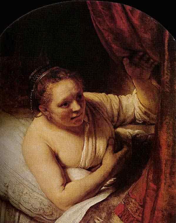 Harmensz van Rijn Rembrandt - Mulher jovem em seu leito
