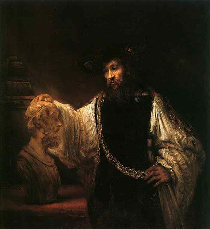 Harmensz van Rijn Rembrandt - Aristóteles diante do busto de Homero