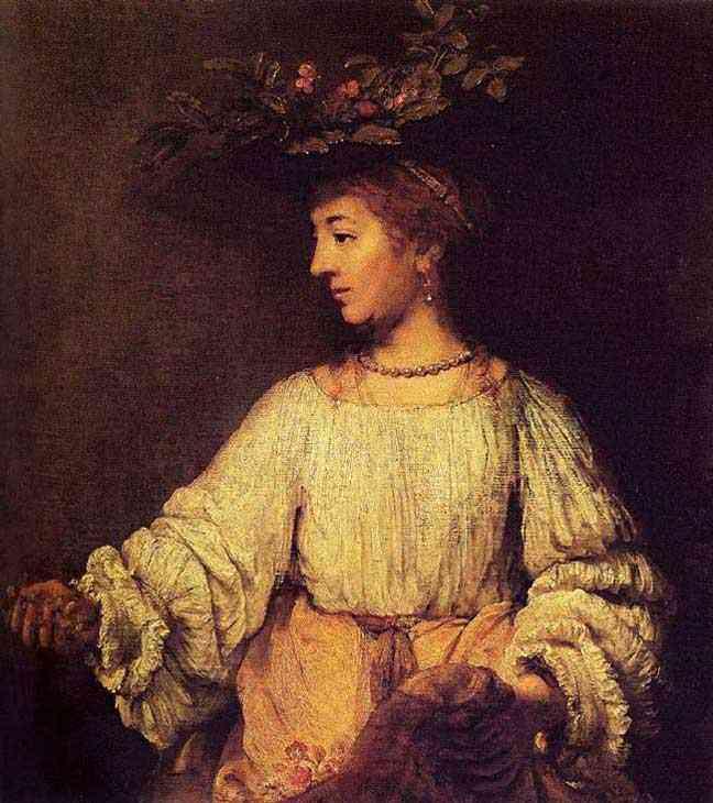 Harmensz van Rijn Rembrandt - Retrato de Hendrickje com enfeite de flores