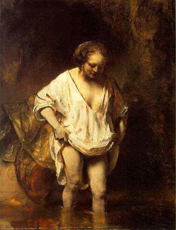 Harmensz van Rijn Rembrandt - Hendrickje banhando-se em um rio