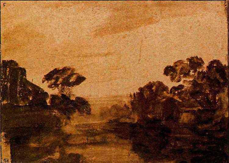 Harmensz van Rijn Rembrandt - Rio ao anoitecer com árvores na margem