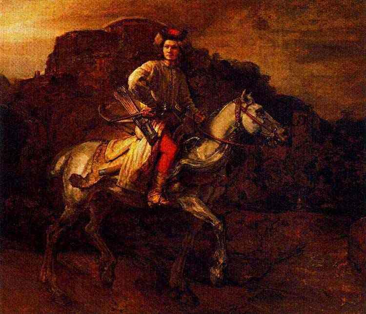 """Harmensz van Rijn Rembrandt - O chamado polidor de ginetes (ou """"figura a cavalo"""")"""