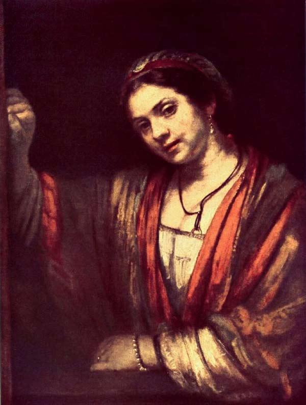 Harmensz van Rijn Rembrandt - Mulher diante de uma porta aberta