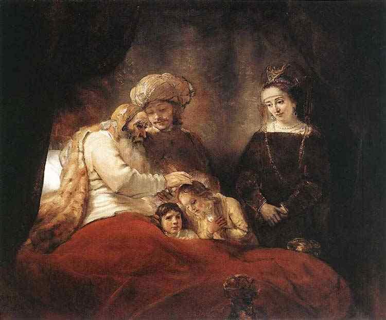 Harmensz van Rijn Rembrandt - Jacó abençoando os filhos de José