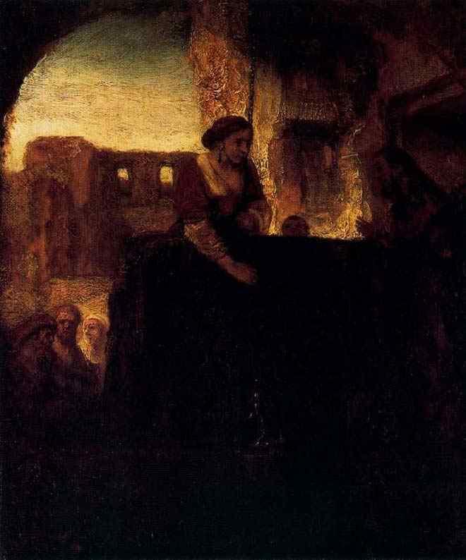 Harmensz van Rijn Rembrandt - Cristo e a mulher de Samaria