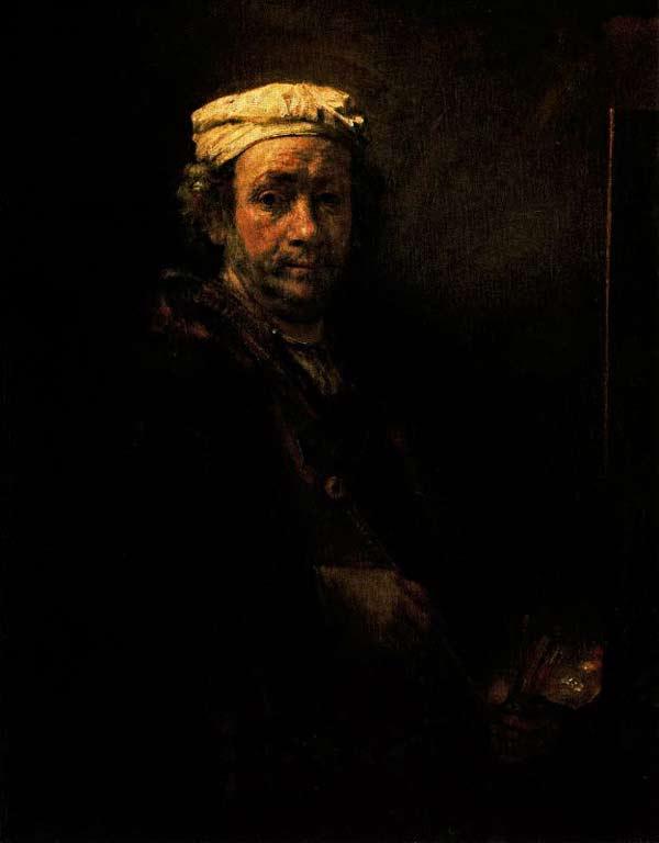 Harmensz van Rijn Rembrandt - Auto-retrato com cavalete