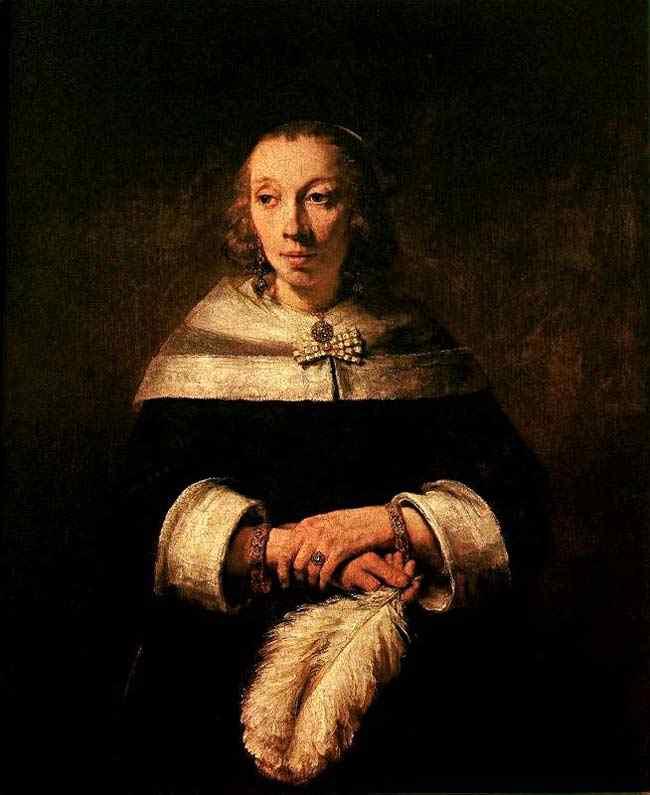 Harmensz van Rijn Rembrandt - Mulher segurando uma pluma
