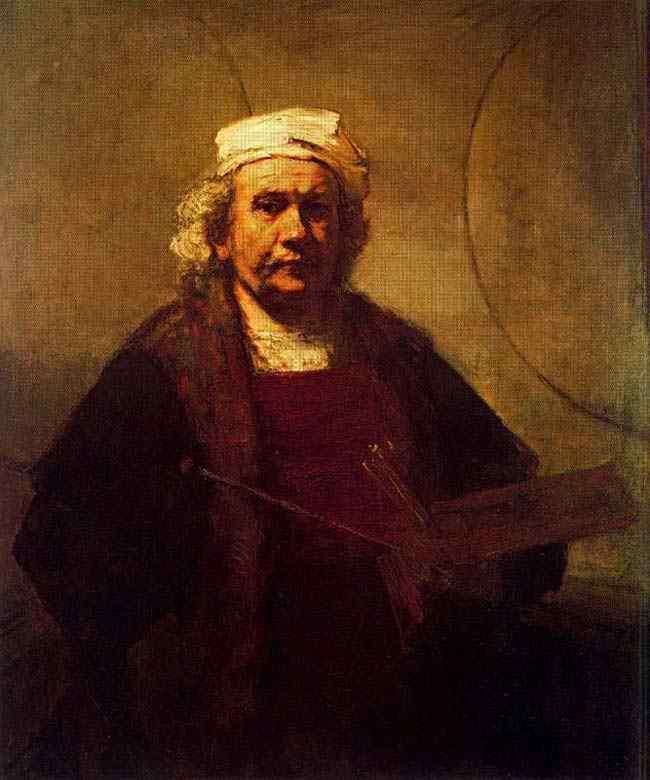 Harmensz van Rijn Rembrandt - Auto-retrato com paleta e pincéis