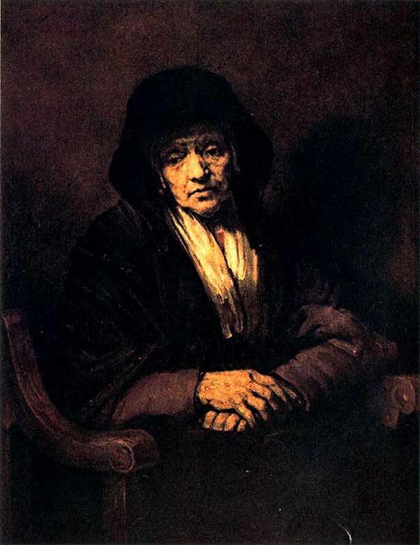 Harmensz van Rijn Rembrandt - Anciã com as mãos juntas