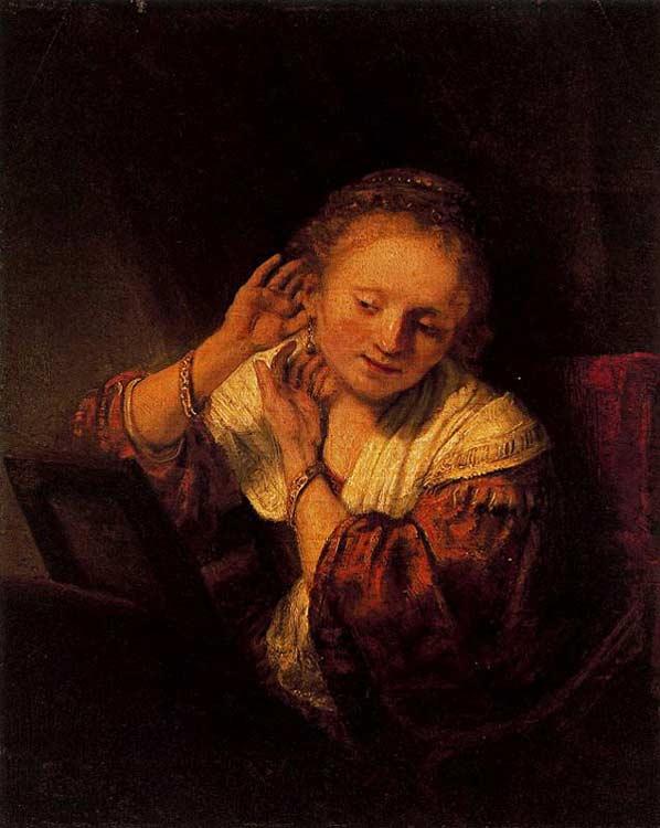 Harmensz van Rijn Rembrandt - Jovem provando brincos