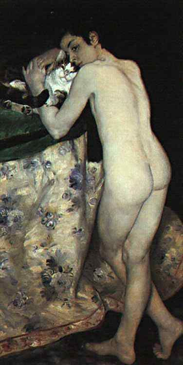 Pierre-Auguste Renoir - Um menino com um gato