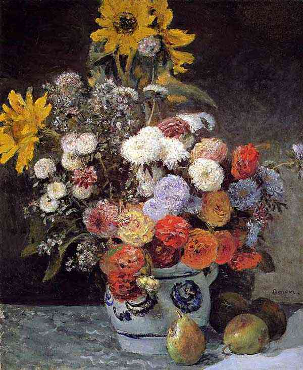 Pierre-Auguste Renoir - Misto de flores em um vaso de louça