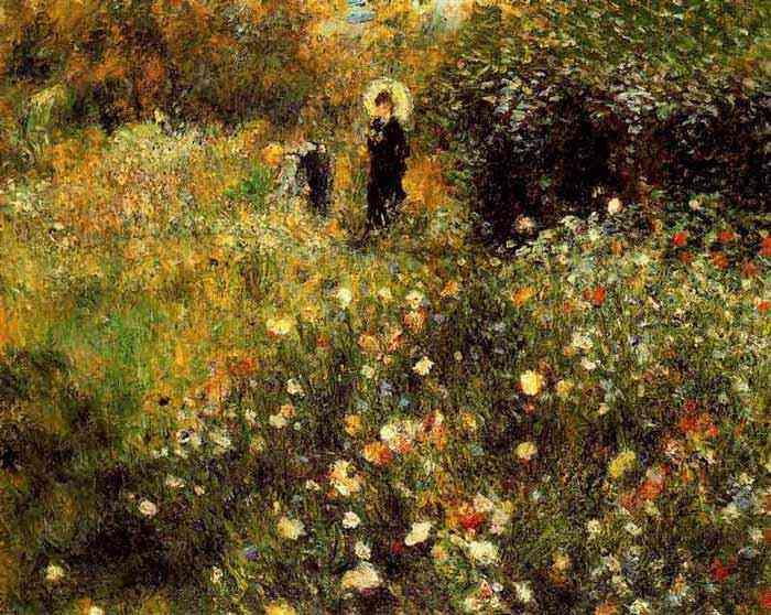 Pierre-Auguste Renoir - Mulher com sombrinha em um jardim