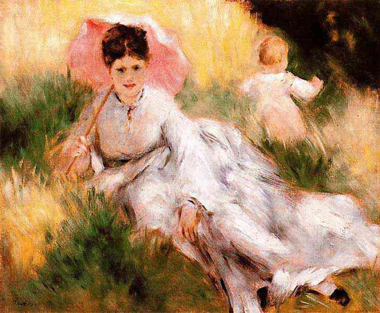 Pierre-Auguste Renoir - Mulher com uma sombrinha e criança