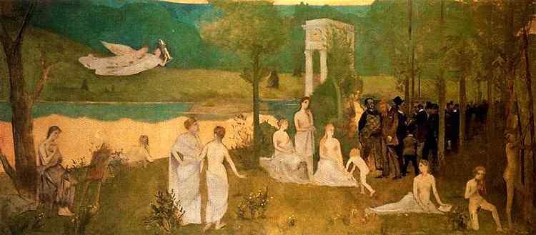 """Henri de Toulouse-Lautrec - Paródia do """"Bois Sacré"""", de Puvis de Chavannes"""