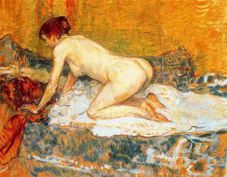 Henri de Toulouse-Lautrec - Mulher de cabelo vermeho agachando-se