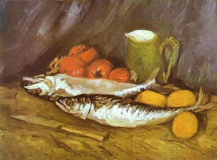Vincent Van Gogh - Natureza morta  com cavalas, limões e tomates