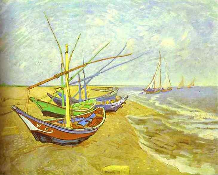 Vincent Van Gogh - Barcos pescando na praia